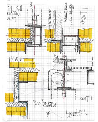 <p><strong>10. </strong>Farklı Malzemelerin  Teması - Detaylar<br />  Çizim:  Cem Sorguç, CM Mimarlık</p>