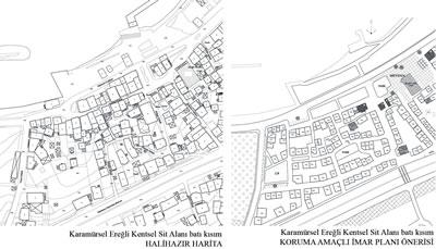 <p><strong>10.</strong>Kentsel Sit Alanının batı kısmına ilişkin  mevcut durum ve KAİP önerisi <br />  Kaynak:  KOÜ BAP, 2015 proje arşivi </p>