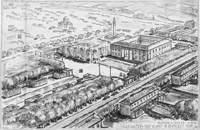 <p><strong>10.</strong> Yeni yönetim binalarının yer alması  planlanan alanı gösterir perspektif çizimi<br />   Kaynak: Technische Universität Berlin  Architekturmuseum</p>