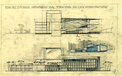 <p><strong>10.</strong> İzmir Belediyesi Tiyatrosu için yapılan bir kesit ve akustik çalışması,  1954<br /> Kaynak: Stadsschouwburg  Izmir Turkije (ontwerp W.M. Dudok), NAi/DUDO 195K.34, 195M.101, Het Nieuwe  Instituut, Rotterdam.</p>