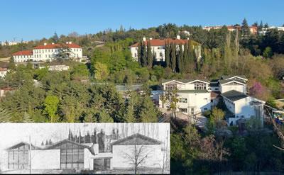 <p><strong>10. </strong>Cengiz Bektaş  tarafından 1964-1965 yıllarında tasarlanmış İngiltere Büyükelçiliği bahçesindeki  ilkokul<br />   Kaynak: <strong>Mimarlık</strong>, 1965/11, ss:33-34.</p>