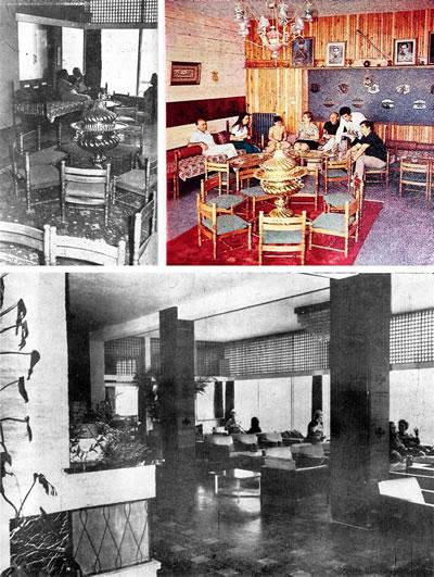 <p><strong>10.</strong> (üst) Şark Kahvesi, (alt)  Amerikan Bar<br /> Kaynak: (üst) Yarbağ, 1969,  s.9; (alt) <strong>Arkitekt</strong>, 1970, ss.63. </p>