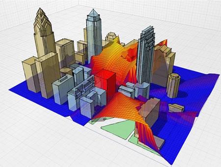 10. Dış mekânda solar radyasyon dağılımı analizi (Kaynak: Ecotect, 2009)