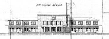 10. J. Pertev imzalı çizim, kente bakan cephe. (Kaynak: TCDD, 1937)