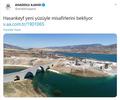 <p><strong>10b.</strong> Hasankeyfteki değişimin öncesi ve  sonrasını gösteren fotoğraflar ve Anadolu Ajansının konuya ilişkin haber  paylaşımı</p>