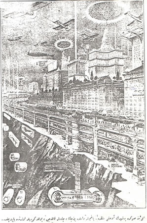 <p><strong>1. </strong><em>Resimli Ay</em> dergisinde  yayımlanan imajlardan bir örnek.<strong> </strong>Resim  Alt Yazısı:<strong> </strong>&ldquo;50 sene sonra bir  şehrin alacağı manzara. Bahçeler damlara binecek, caddeler kalkacak, yollar  köprüler üzerinde yapılacaktır.&rdquo;<strong></strong><br />Kaynak: 1925, <strong>Resimli Ay</strong>, sayı:3 (Nisan), s.13.</p>