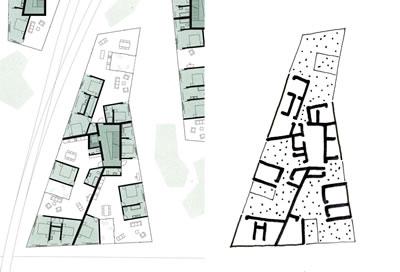 <p><strong>11.</strong> Güterareal Konut Projesinde bir konut bloğunun normal kat planı ve yorumu <br />  Kaynak: Durisch, 2014d,  s.100. Çizim: Mehmet Kerem Özel</p>