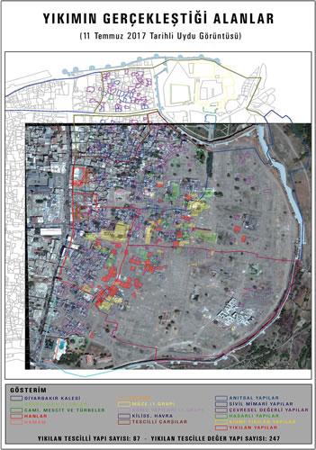 <p><strong>11.</strong> 11  Temmuz 2017 tarihli uydu görüntüsünde anıtsal yapıların analizi</p>