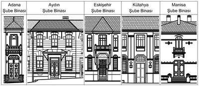 <p><strong>11.</strong> İncelenen yapıların giriş cepheleri - Adana Şube Binasının  cephesi RST Proje İnşaat Danışmanlık San. ve Tic. Ltd. Şti. (Y. Mimar Reşat  Toklu), Aydın Şube Binasının cephesi Asmira Mimarlık Restorasyon (Y. Mimar  Semra Emek), Eskişehir Şube Binasının cephesi RST Proje İnşaat Danışmanlık  San. ve Tic. Ltd. Şti. (Y. Mimar Reşat Toklu), Kütahya Şubesi Binasının  cephesi T.C. Ziraat Bankası A.Ş. İnşaat ve Gayrımenkul Yönetimi Bölüm  Başkanlığı ve Manisa Şube Binasının cephesi PROTEK Müh. İnş. San. ve Tic. Ltd.  Şti. firması (Mimar Şemsi Tunçel) tarafından hazırlanmış, çizimler yazar  tarafından düzenlenmiştir.</p>
