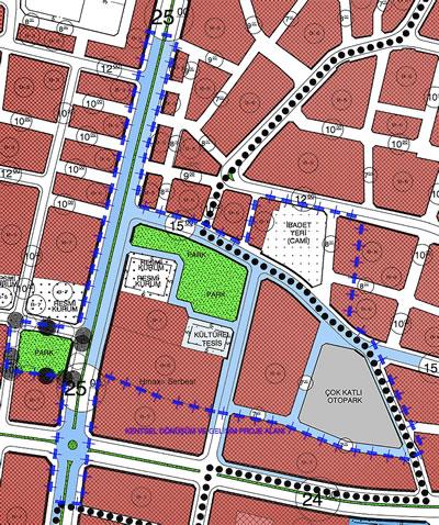 <p><strong>11.</strong> Banka binasının içinde yer aldığı  kentsel dönüşüm alanı mavi kesik çizgiler ile gösterilmiştir <br />   Kaynak:  Van Büyükşehir Belediyesi</p>