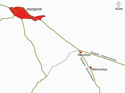 <p><strong>1.</strong>Eskişehir Çifteler Köy  Enstitüsü'nün iki yerleşkesinin yeraldığı Hamidiye ve Mahmudiye köylerini gösteren  harita. </p>