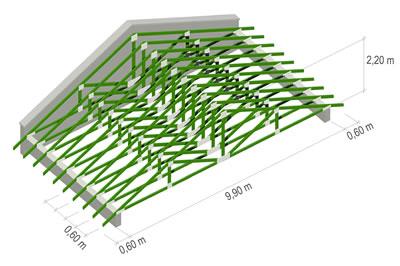 <p><strong>Şekil  1. </strong>Sık  aralıklı ahşap kafes sistem için kafes genişliği 9,90 m, kafes yüksekliği 2,20  m, kafes aralığı 0,60 m ve saçak mesafesi 0,60 m.<br />a. Oturtma Ahşap Çatı Sistemi<br /> b. Geleneksel Ahşap Asma Çatı Sistemi<br />c. Sık Aralıklı Ahşap Kafes Sistem<br />d. Geniş Aralıklı Ahşap Kafes Sistem</p>