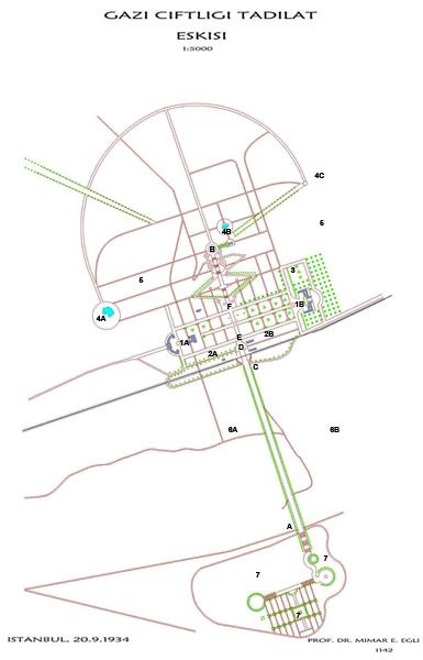 """<p><strong>Resim 1. </strong>Egli'nin 1934 tarihli Orman Çiftliği  kentsel tasarım projesi. 1A: Yönetim, okul; 1B: Kamu bahçesi, restoran, otel; 2A:  Lojmanlar; 2B: Bira parkı ve endüstriyel alan; 3: Meyve, sebze bahçesi; 4A:  Yüzme havuzu, spor ve benzeri; 4B: Marmara kısmı; 4C: Yeni inşa edilen kısım; 5:  Yürüyüş yolları, orman; 6A-B: Tarım ve endüstri; 7: Kahraman ve şehitler için  """"Ebedi Zafer İstirahatgâhı""""<br />  Kaynak: Cumhurbaşkanlığı Atatürk Arşivi, Dolap:17, Kutu  No:184-6, Dosya No:7, Fihrist No:6-1 ve 6-2.</p>"""