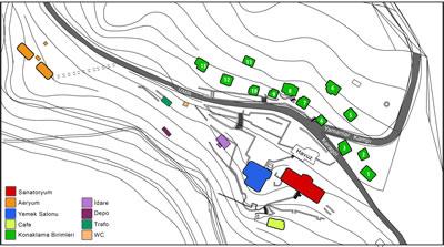 <p><strong> 1.</strong> Karşıyaka Yamanlar  Dağı'nda kamp yapıları ve sanatoryumun mevcut durumunu gösteren vaziyet planı<br />Kaynak: Karşıyaka  Belediyesi Arşivi'nden alınan vaziyet planı kullanılarak Korhan Cengiz  tarafından hazırlanmıştır</p>
