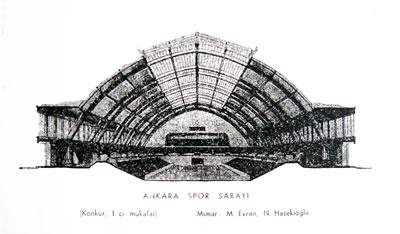 <p><strong> 1. </strong>Ankara  Spor Sergi Sarayı Yarışmasını kazanan projenin iç perspektifi.<br />Kaynak: Evren, 1954, s.77.</p>
