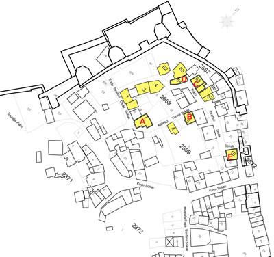 <p><strong>1. </strong>Ayvansaray Kentsel Dönüşüm Projesi kapsamında, 2867, 2868  ve 2869 adalarda yıkılan ahşap sivil mimari örnekleri işaretlenmiştir.</p>