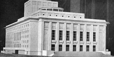 <p><strong>1. </strong>İnşaatın başlangıcındaki Auguste Perret projesine göre  hazırlanmış olan maket, 1946<br />  Kaynak: Cumhuriyet  Devrinde İstanbu<strong>l</strong><em>,</em> 1949.</a></p>