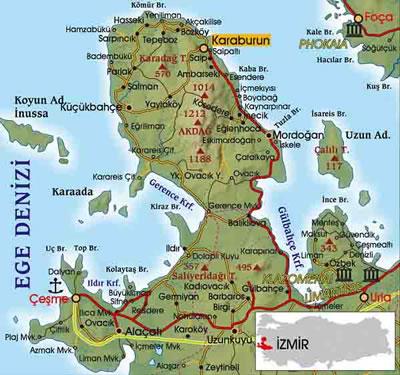<p><strong>1.</strong> Karaburun Yarımadası'nın konumu<br />Kaynak: www.karayollari-haritasi.com [Erişim: 01.10.2016]