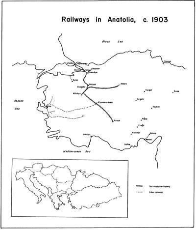 <p><strong>Resim  12.</strong> 1903 yılında Anadoludaki demiryollarını gösteren bir harita <br /> Kaynak: Quataert, s.140.</p>
