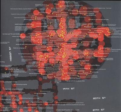 <p><strong>12. </strong>Kullanıcıların  duygusal deneyimlerinin anlatımları üzerinden mekânın haritalanması: Christian  Nold, &ldquo;San Fransisco Emotion Map&rdquo;, 2007.<br />   Kaynak: Harmon, 2009, s.143.</p>