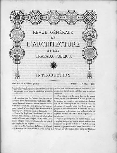 <p><strong>1. Revue generale de larchitecture et des travaux public</strong>, 1887, seri:4, cilt: 14.<br />Kaynak: https://commons.wikimedia.org/wiki/File:Revue_g%C3%A9n%C3%A9rale_de_l%27architecture_et_des_travaux_publics,_SER4,_V14,_1887.pdf [Erişim: 01.02.2018]