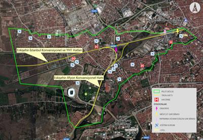 <p><strong>Şekil 1. </strong>Eskişehir demir yolu gürültüsü pilot alanı  sınırları ve demiryolları(Kaynak: Eskişehir Büyükşehir Belediyesi, İmar ve  Şehircilik Daire Başkanlığı, Coğrafi Bilgi Sistemleri Şube Müdürlüğü)</p>