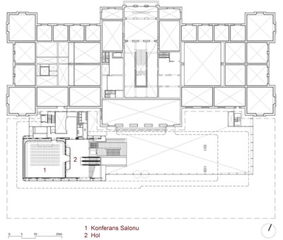<p><strong>12.</strong> Birinci kat planı<br />   Çizim: Benthem Crouwel  Architects</p>