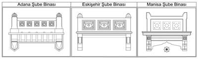<p><strong>12.</strong> Ziraat Bankasının Adana, Eskişehir ve Manisa Şube  Binalarının balkon detayları - Adana  ve Eskişehir Şube Binalarının balkon detayı RST Proje İnşaat Danışmanlık San.  ve Tic. Ltd. Şti. (Y. Mimar Reşat Toklu), Manisa Şube Binasının balkon detayı PROTEK  Müh. İnş. San. ve Tic. Ltd. Şti. firması (Mimar Şemsi Tunçel) tarafından  hazırlanmış, çizimler yazar tarafından düzenlenmiştir.</p>