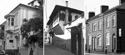 <p><strong>1.</strong> İzmir konutu (solda) ve kökenlerini  oluşturan iki temel konut geleneği, Batı Anadolu konutu (ortada), İngiliz sıra  evleri (sağda)</p>