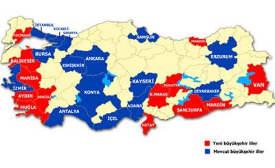 2012 yılındaki yeni düzenleme ile eski ve yeni büyükşehir belediyeleri.