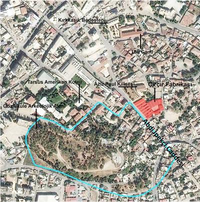 <p><strong>1.</strong> Tarsus Çırçır Fabrikasının Tarsus tarihî  kent merkezindeki konumu<br />   Kaynak:  SAYKA İnşaat Mimarlık Mühendislik</p>