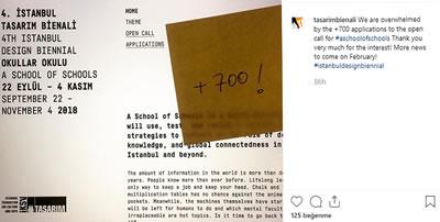<p><strong>1.</strong> 4. İstanbul Tasarım Bienaline 700 ün  üzerinde başvuru yapıldığı duyuruldu.<br />   Kaynak: URL2</p>