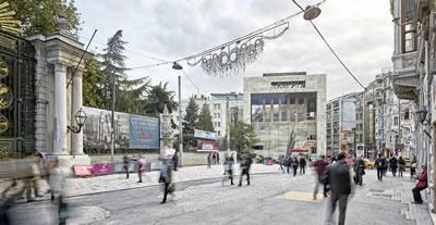 <p><strong>1.</strong> Taksim Meydanından Galatasaray  Meydanına doğru ilerlerken karşılaşılan cephe<br />   Kaynak: Teğet Mimarlık</p>