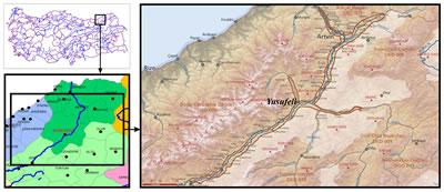 """<p><strong>1.</strong> Yusufeli İlçesinin konumu ve Çoruh  Vadisi Önemli Doğa Alanı (ÖDA)<br />  Kaynak: Konum haritaları:  BaşarSoft CBS altlık verileri <br />ÖDA haritası: Kurt, Bahtiyar, 2006, """"Çoruh Vadisi"""", Türkiyenin Önemli Doğa Alanları, (ed.) Güven Eken, Murat Bozdoğan, Süreyya İsfendiyaroğlu, Dicle Tuba Kılıç, Yıldıray Lise, Doğa Derneği, Ankara, cilt:6, ss.227."""