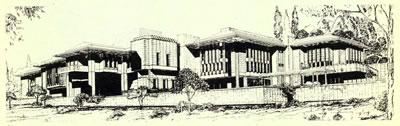 <p><strong>Resim 12b.</strong><strong> </strong>Cumhurbaşkanlığı  Hizmet Binası Mimari Proje Yarışması, Önalın 50, 51 ve 52 sıra no.lu projeleri  değerlendirme krokileri ve 52 sıra no.lu 1. Ödül alan projenin perspektifi<br />Kaynak: Mimarlık, 1987, sayı: 224, s.54.