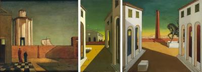 <p><strong>1.</strong> Giorgio de  Chirico'nun tekinsiz boş şehirleri </p>