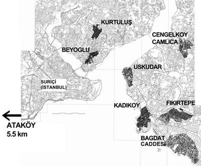 <p><strong>13.</strong> Seçilen bölgeler haritası <br />  Kaynak: Yazar  tarafından üretilmiştir.</p>