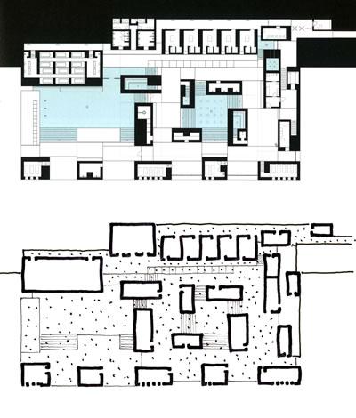 <p><strong>13.</strong> Vals Kaplıcasının ana havuz katı planı ve yorumu<br />  Kaynak: Durisch, 2014b,  s.47. Çizim: Mehmet Kerem Özel</p>