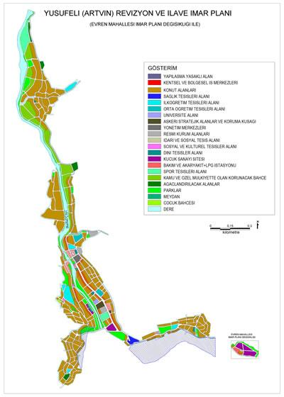 <p><strong>13.</strong> Yusufeli İlçesi kentsel yerleşiminin  yürürlükteki revizyon ve ilave imar planı<br />   Kaynak: Yusufeli  Belediyesinden edinilen imar planının CBS ortamına aktarılması</p>