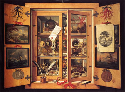 <p><strong>1.</strong> Nadire kabinesi, Domenico Remps, 1690.<br />Kaynak: Wikimedia Commons, https://commons.wikimedia.org/wiki/File:Cabinet_of_Curiosities_1690s_Domenico_Remps.jpg