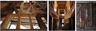 <p><strong>13.</strong> Yapının  ahşap konstrüksiyonu ve restorasyonundan örnekler</p>
