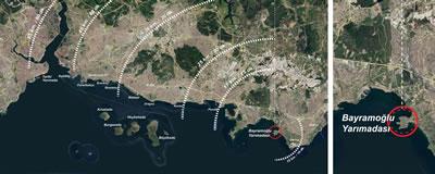 <p><strong>1.</strong> Bayramoğlu Yarımadasının konumu ve İstanbulla ilişkisi<br /> Kaynak: 2020  tarihli Google Earth hava fotoğrafı üzerine yazarlar tarafından işlenmiştir.<br />