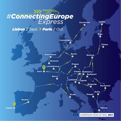 """<p><strong>1.</strong> """"Connecting Europe  Express""""in 2021 Avrupa Demiryolları Yılı seyahat güzergahı.</p>"""