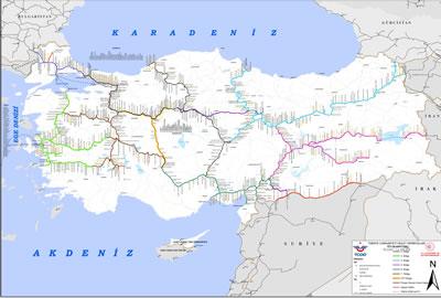 <p><strong>Resim  13.</strong> TCDD demiryolları haritası <br /> Kaynak: TCDD Genel Müdürlüğü  Kapasite Dairesi</p>