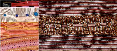 """<p><strong>14.</strong> Avustralya da aborjinlerin mekânda deneyim  - imgeleri: Solda """"The Canning Stock Route""""-Kunawarratij den Wajaparni ye her  sene kat edilen yolun hikâyesi, farklı sanatçı tarafından yapılan haritalar ve  sağda """"Narrabri Nakamarra Women's Ceremony"""" çölde yapılan törene yolculuğun  anlatımı-yolculuğu belirten çizgisellik, yol boyu su kuyuları ve tören  anlatımında ortak dil / imgeler... <br />solda Kaynak: http://australianmuseum.net.au/gallery-yiwarra-kuju-canning-stock-route [Erişim: 30.03.2016]sağda Kaynak: www.aboriginalartworld.com.au/internet_specials.asp [Erişim: 30.03.2016]"""