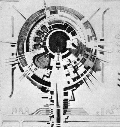 <p><strong>14.</strong> 64 yılı Roma büyük ödülü verilen proje. Soyut programlı,  fiziki gerçek bir bağlam dışı, tümel bir biçim arayışının öne çıktığı yaklaşımı  gösteren bir güzel sanatlar mimarlığı projesi.<br />   Kaynak:  Archives Nationales, Jean-Louis Violeau, 2005</p>