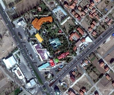 <p><strong>14.</strong> Orhan  Ağaçlı Aksaray Turistik Tesislerinin günümüzdeki durumu <br />   Kaynak: Google Earth</p>