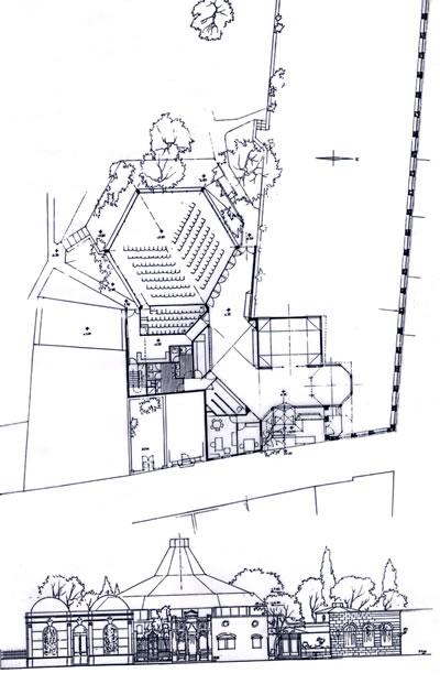 <p><strong>14. </strong>Nezih Eldem tarafından tasarlanan Neyhane olarak adlandırılan  yapıya ait plan ve görünüş</p>