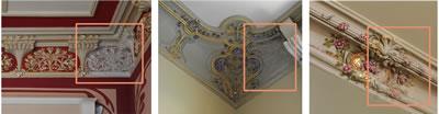 <p><strong>14.</strong> Tavan  bezemelerinde konservasyon çalışmaları sonrası durum gösteren örnekler</p>