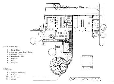 <p><strong>15.</strong> Beşiktaş  Mobil Servis İstasyonu ve Restoranı (Motorest), İstanbul. Aralarındaki ayırıcı  duvarıyla Servis İstasyonu ve giriş saçağıyla Motorest. Mobilin Pegasus  referanslı logosunu taşıyan Servis İstasyonu saçağı.<br />Kaynak: <em>Mimarlık</em>, 1967, sayı: 1967-1 (39).</p>